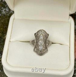 Victorian Edwardian Filigree Fine Ring 925 Sterling Silver 1.9 Ct Round Diamond