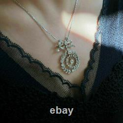 Victorian Edwardian Pendant Without Chain 14K White Gold Over 2.68 Ct Diamond