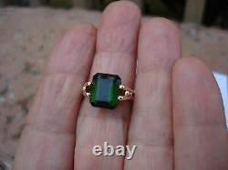 Vintage 0.86CT Emerald Cut Green Emerald 14K Yellow Gold Finish Wedding Ring