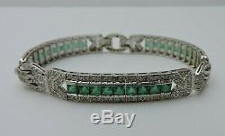 Vintage 12Ct Colombian Emerald & Diamond 18k White Gold Over Ladies 7.5Bracelet