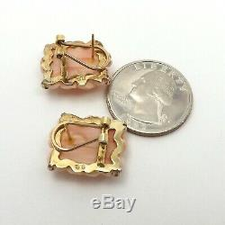 Vintage 14K Gold Sterling Silver Carved Pink Sea Coral Roses Omega Back Earrings
