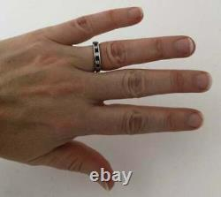 Vintage 14K White Gold Over Blue Sapphire & Diamond Eternity Band Stacking Rings