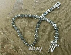Vintage 14K White Gold Over Round Diamonds Tennis S-link Bracelet 6.5 long 9 Ct