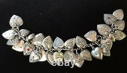 Vintage 1940s Sterling Silver 29 Puffy Engraved HEART Charm Bracelet W Jewels