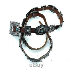 Vintage 1960's Navajo Sterling Silver & Sleeping Beauty Turquoise Concho belt