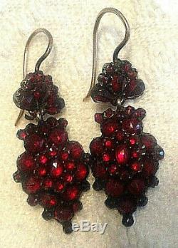 Vintage 2-tiers Edwardian Bohemian rose cut garnet Sterling 12K wire earrings