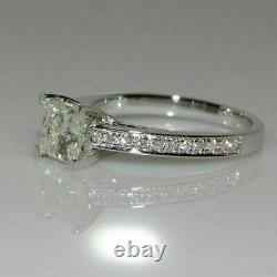 Vintage 2CT Princess Cut Moissanite Wedding Engagement Ring 14K White Gold Over