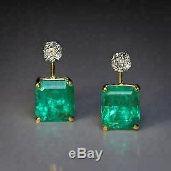 Vintage 4.60Ct Emerald & Diamond 14K Yellow Gold Over Solitaire Stud Earrings
