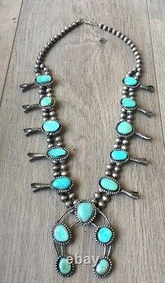 Vintage (5.72 Oz.) 26 Long Navajo Turquoise & Sterling Squash Blossom Necklace