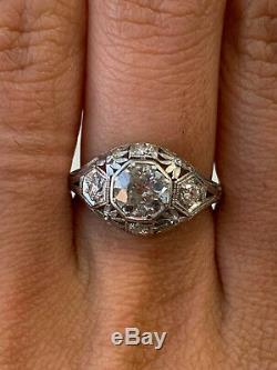 Vintage & Antique Art Deco Antique Fine Ring 14k White Gold Finish 2 Ct Diamond
