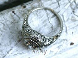 Vintage & Antique Art Deco Edwardian Ring 14k White Gold Over 2 Ct Round Diamond
