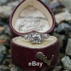 Vintage Art Deco 0.53 Ct Round Cut Diamond Antique Engagement Ring 14K Gold Over