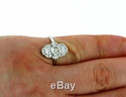 Vintage Art Deco 1.35Ct Bezel Diamond 14K White Gold Over 1895s Engagement Ring