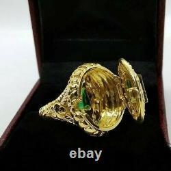 Vintage Art Deco 1.6Ct Emerald Poison Locket Engagement Ring 14K YellowGold Over