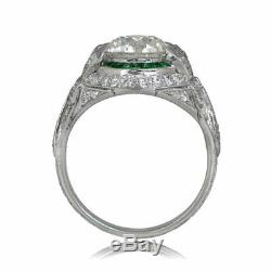 Vintage Art Deco 2.00Ct Round Cut Diamond Engagement Wedding 925 Silver Ring
