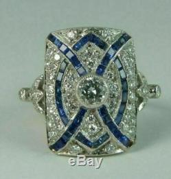 Vintage Art Deco 2.39 Diamond & Sapphire 14k White Gold Over Engagement Ring