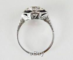 Vintage Art Deco 2Ct Round Diamond &Sapphire Engagement Ring 14k White Gold Over