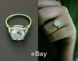Vintage Art Deco 3.5 Ct Diamond Engagement Wedding Ring 10K White Gold Finish