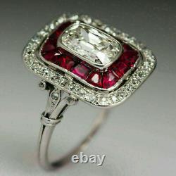 Vintage Art Deco 3.68 Ct Diamond & Ruby Engagement Ring 14K White Gold Over