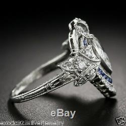 Vintage Art Deco 3.75 CT Heart Cut Diamond Engagement Ring 925 Sterling Silver