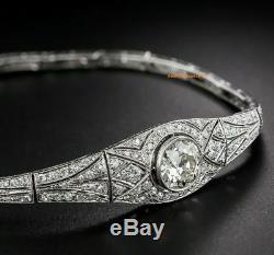 Vintage Art Deco 8.00 MM Round Cut Diamond 925 Sterling Silver Fine Bracelet 7