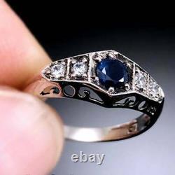 Vintage Art Deco Anniversary Filigree Ring 14K White Gold Over 1.50 Ct Sapphire