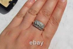Vintage Art Deco Antique Engagement Ring 14K White Gold Over 3 Ct Round Diamond