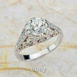 Vintage Art Deco Engagement Incredible Ring 14K White Gold Over 2.31 Ct Diamond