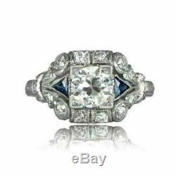 Vintage Art Deco Engagement Ring 14K White Gold Fn 2 Ct Round Diamond & Sapphire