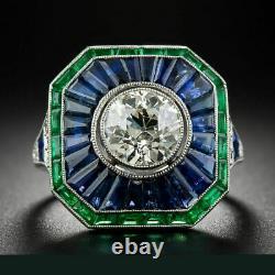 Vintage Art Deco Engagement Ring 2.1 Ct Sapphire & Diamond 14K White Gold Over