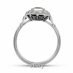 Vintage Art Deco Engagement Ring 2.89Ct Red Emerald Cut Ruby 14K White Gold Over