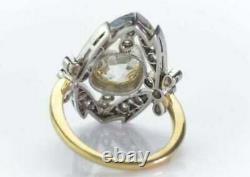 Vintage Art Deco Engagement Ring 2 Ct Cushion Cut Diamond 14K White Gold Over