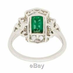 Vintage Art Deco Engagement Ring 3 Ct Green Emerald Diamond 14K White Gold Over