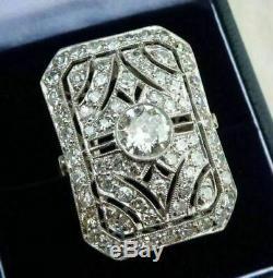 Vintage Art Deco Engagement Wedding Ring 3.20Ct VVS1 Diamond 14k White Gold Over