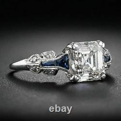 Vintage Art Deco Engagement Wedding Ring 925 Sterling Silver 3Ct Asscher Diamond