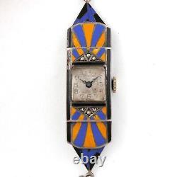 Vintage Art Deco Ladies Sterling Silver & Blue, YellowithOrange Enamel Watch