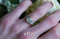 Vintage Art Deco Retro 2.68 Ct Diamond 14k White Gold Over Engagement Ring
