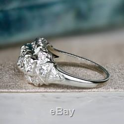 Vintage Art Deco Retro Fine Engagement Ring 925 Sterling Silver 4Ct Diamond Ring