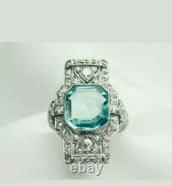 Vintage Art Deco Ring Engagement Unique Ring 14K White Gold Fine 3 Ct Aquamarine