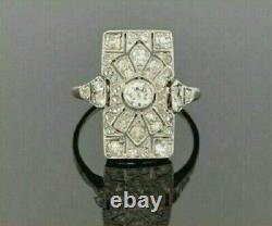 Vintage Art Deco Ring Engagement & Wedding Ring 2Ct Diamond 14k White Gold Over
