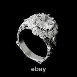 Vintage Art Deco Ring Filigree Wedding Ring 3.20 Ct Diamond 925 Sterling Silver