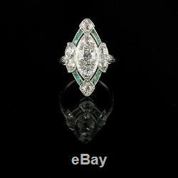 Vintage Art Deco Sapphire Ring Fine 3 Ct Three Stone Diamond 14K White Gold Over