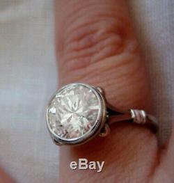 Vintage Art Deco Solitaire Engagement Ring 3Ct Round Diamond 14K White Gold Over