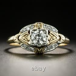 Vintage Art Deco Wedding Antique Ring 14K Yellow Gold Over 1.50 Ct Round Diamond