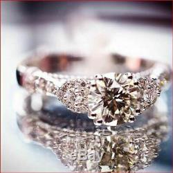 Vintage Art Deco Wedding Ring 2 Ct Diamond Engagement Ring 14K White Gold Finish