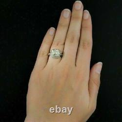 Vintage Art Nouveau Engagement Filigree Ring 2.78 Ct Diamond 14K White Gold Over