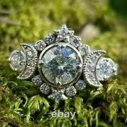 Vintage Art Retro Engagement & Wedding Ring 2.67 Ct Diamond 14K White Gold Over