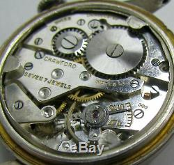 Vintage Crawford WW2 Era Military Style Sterling Silver Mens Watch 7J 1940s