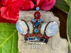Vintage Crown Trifari Sterling Silver Philippe King Crown Rhinestone Brooch Pin