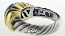 Vintage David Yurman 14k Gold Sterling Silver Blue Topaz Capri Cable Ring Sz 5.5